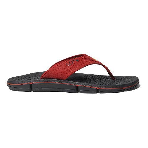 Mens OluKai Kia'I Kei Sandals Shoe - Deep Red/Black 11