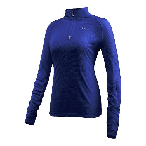 Womens Saucony Transition Sportop Long Sleeve Half Zip Technical Tops - Twilight S