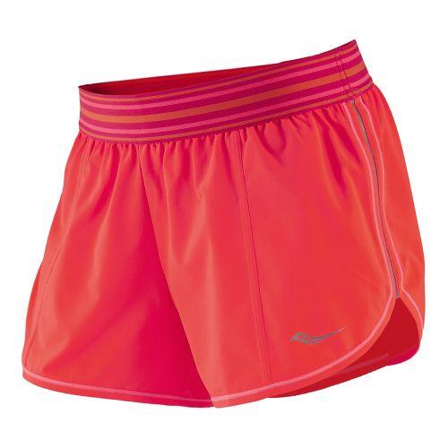 Womens Saucony PE Short Split Shorts - Vizipro Electric XS