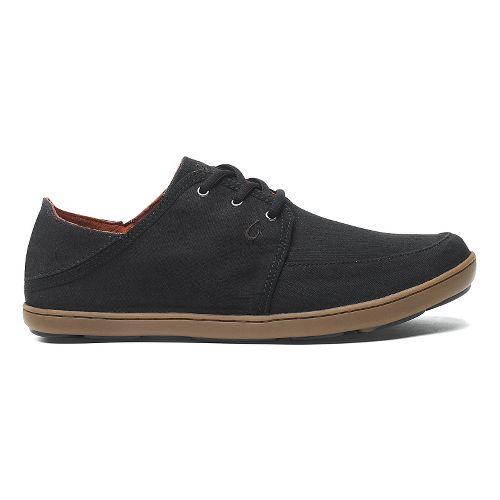 Mens OluKai Nohea Lace Twill Casual Shoe - Black/Black 11.5