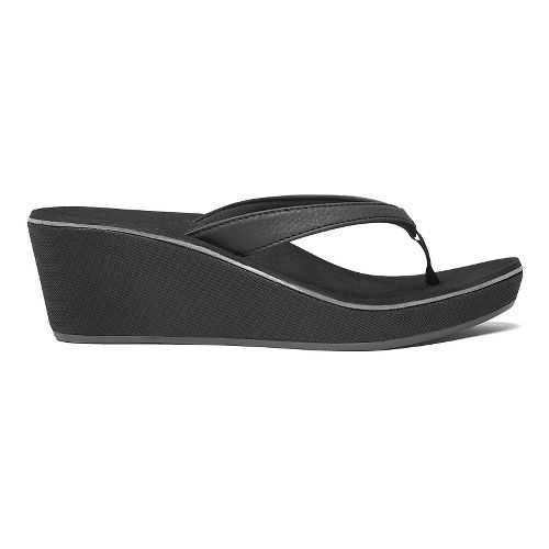 Womens OluKai Ipo Wedge Sandals Shoe - Black/Black 5