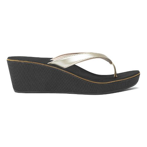 Womens OluKai Ipo Wedge Sandals Shoe - Bubbly/Black 8