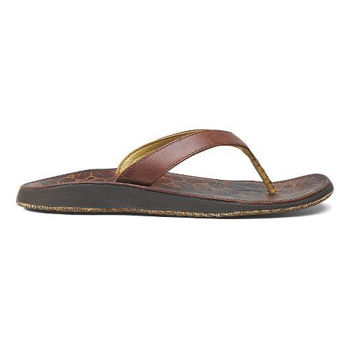 Womens OluKai Paniolo Plumeria Sandals Shoe - Chestnut/Plumeria 5