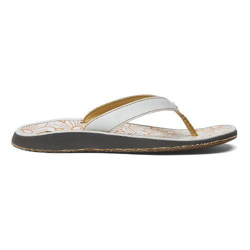 Womens OluKai Paniolo Plumeria Sandals Shoe - Trench Blue/Plumeria 11