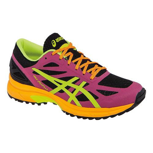 Womens ASICS GEL-FujiPro Trail Running Shoe - Onyx/Hot Pink 9.5