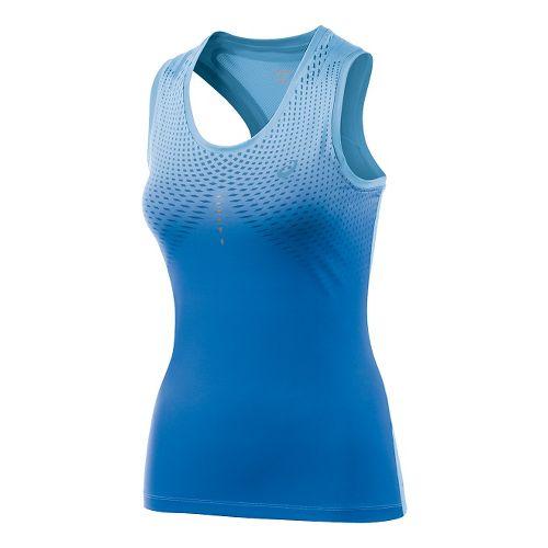 Womens ASICS Allover Print Tank Technical Tops - Natural Blue M