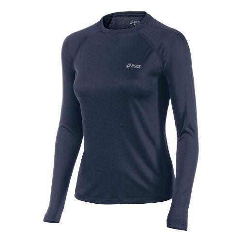 Womens ASICS Performance Run Top Long Sleeve No Zip Technical Tops - Dark Cobalt M ...