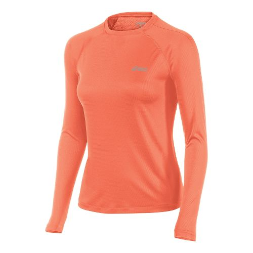 Womens ASICS Performance Run Top Long Sleeve No Zip Technical Tops - Living Coral M ...