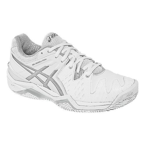 Womens ASICS GEL-Resolution 6 Clay Court Shoe - White/Silver 10.5