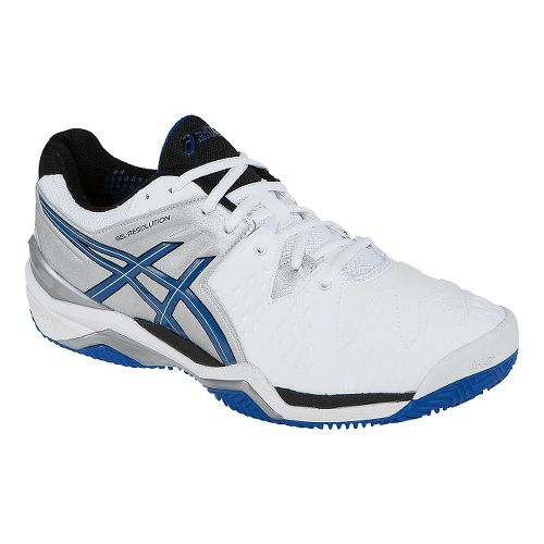 Mens ASICS GEL-Resolution 6 Clay Court Shoe - White/Blue 10.5