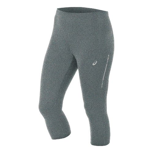 Womens ASICS Knee Tight Capris Pants - Grey Heather S