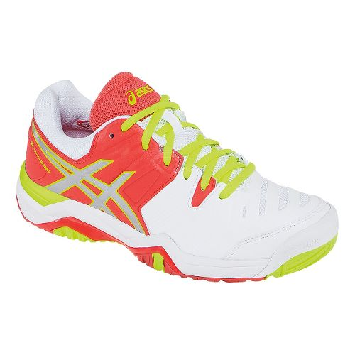 Womens ASICS GEL-Challenger 10 Court Shoe - White/Hot Coral 6.5