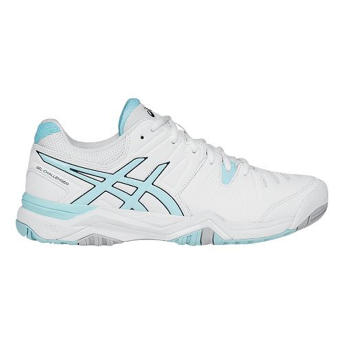 Womens ASICS GEL-Challenger 10 Court Shoe - White/Blue 7.5