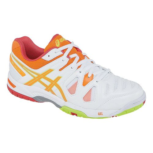 Womens ASICS GEL-Game 5 Court Shoe - White/Hot Coral 7.5