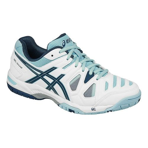 Womens ASICS GEL-Game 5 Court Shoe - White/Blue 7