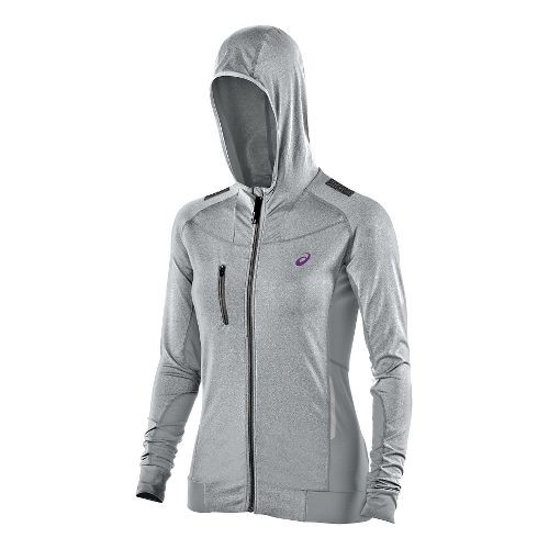 Womens ASICS FujiTrail Warm Up Hooded Jackets - Heather Grey L