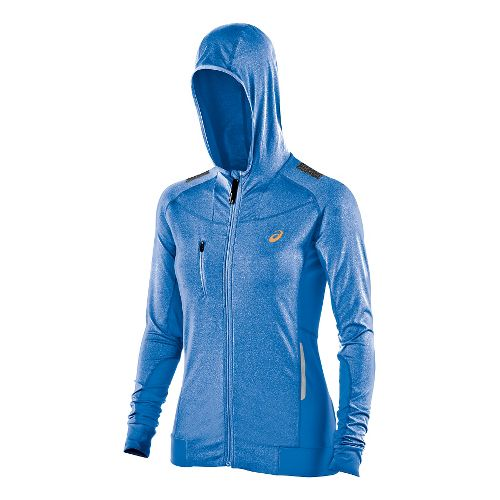 Womens ASICS FujiTrail Warm Up Hooded Jackets - Jeans Heather XS