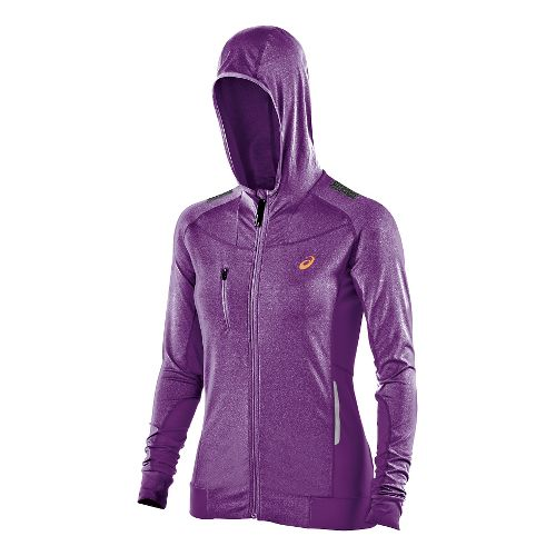 Womens ASICS FujiTrail Warm Up Hooded Jackets - Purple Magic Heather L