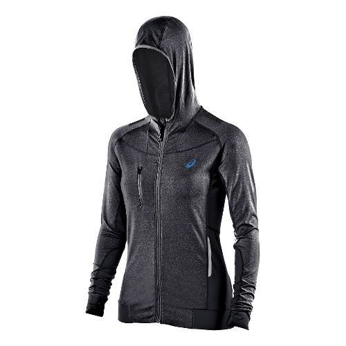 Womens ASICS FujiTrail Warm Up Hooded Jackets - Heather Grey XS