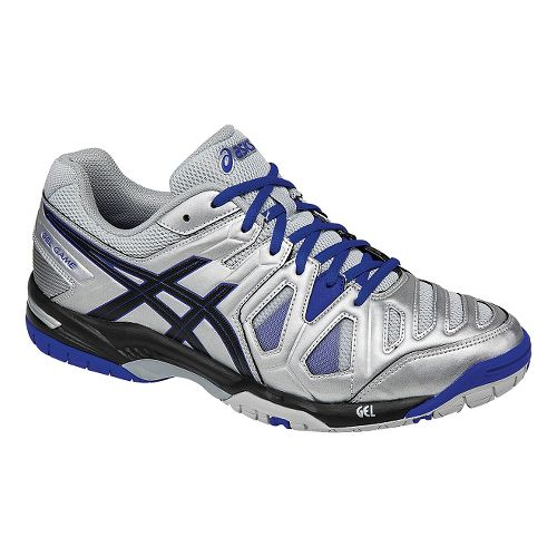 Mens ASICS GEL-Game 5 Court Shoe - Silver/Black 7.5