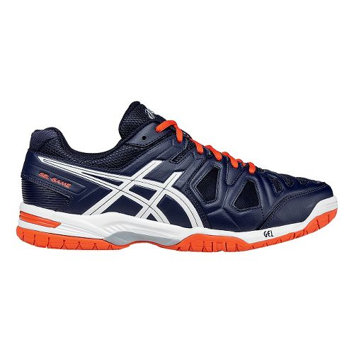 Mens ASICS GEL-Game 5 Court Shoe - White/Orange 8.5