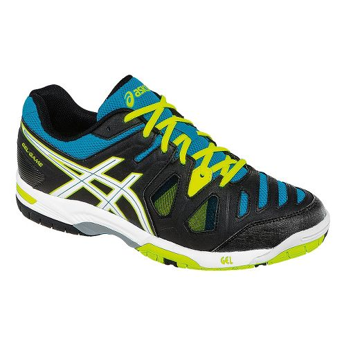 Mens ASICS GEL-Game 5 Court Shoe - Onyx/Flash Yellow 6.5