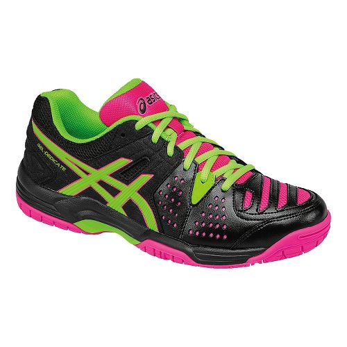 Womens ASICS GEL-Dedicate 4 Court Shoe - Black/Green/Pink 7