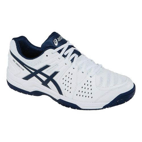 Mens ASICS GEL-Dedicate 4 Court Shoe - White/Navy 9.5