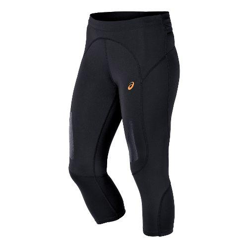 Womens ASICS FujiTrail Knee Capri Tights - Performance Black L