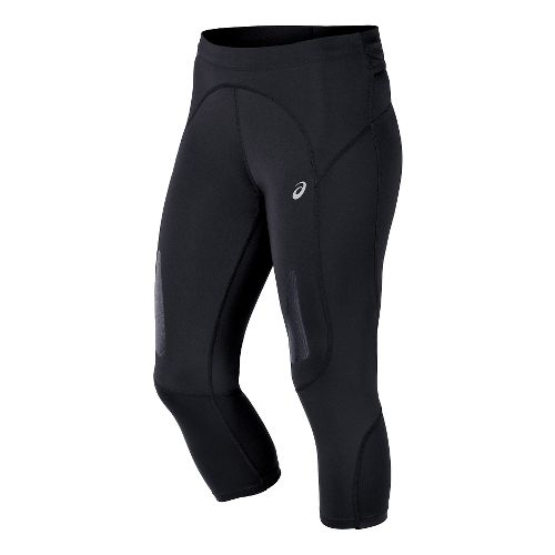 Womens ASICS FujiTrail Knee Capri Tights - Balance Black M