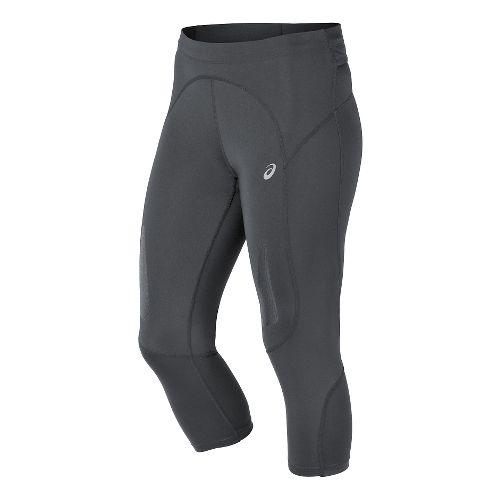 Womens ASICS FujiTrail Knee Capri Tights - Dark Grey XS