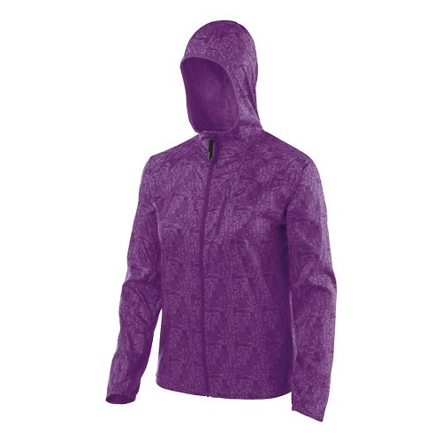 Womens ASICS FujiTrail Packable Warm Up Hooded Jackets - Purple Magic Print L