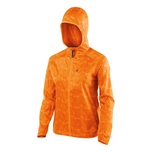 Womens ASICS FujiTrail Packable Warm Up Hooded Jackets - Fizzy Peach Print L
