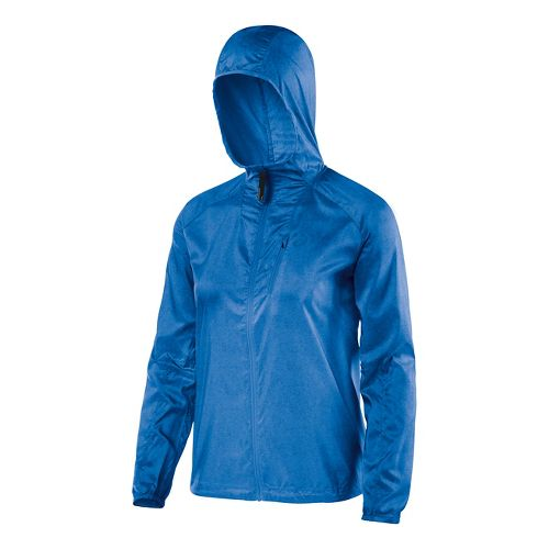 Womens ASICS FujiTrail Packable Warm Up Hooded Jackets - Jeans Print S