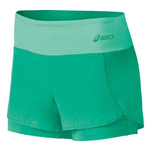 Womens ASICS Fit-Sana 2 in 1 Shorts - Cool Mint XL