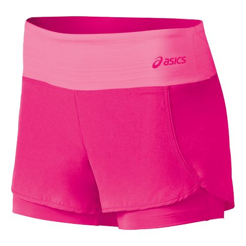 Womens ASICS Fit-Sana 2 in 1 Shorts - Ultra Pink L