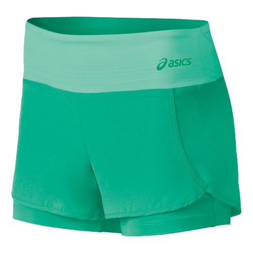 Womens ASICS Fit-Sana 2 in 1 Shorts - Cool Mint L