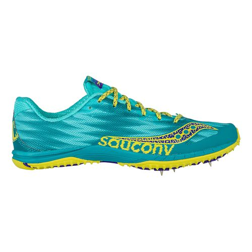 Womens Saucony Kilkenny XC Spike Cross Country Shoe - Teal/Yellow 5