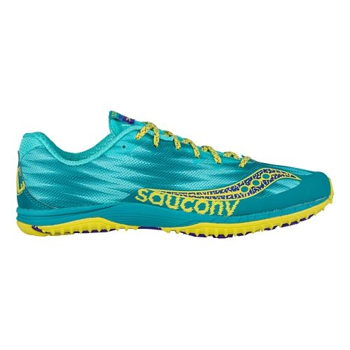 Womens Saucony Kilkenny XC Flat Cross Country Shoe - Teal/Yellow 7.5