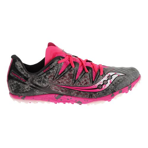 Womens Saucony Carrera XC Flat Cross Country Shoe - Grey/Pink 5.5