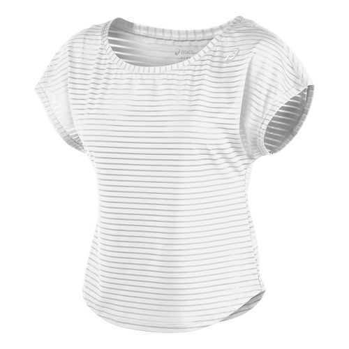 Womens ASICS Cleo Pop Double-Wrap Short Sleeve Technical Tops - Real White L