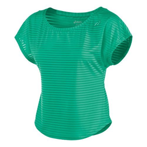 Womens ASICS Cleo Pop Double-Wrap Short Sleeve Technical Tops - Cool Mint M