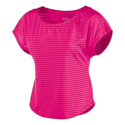 Womens ASICS Cleo Pop Double-Wrap Short Sleeve Technical Tops - Ultra Pink XS