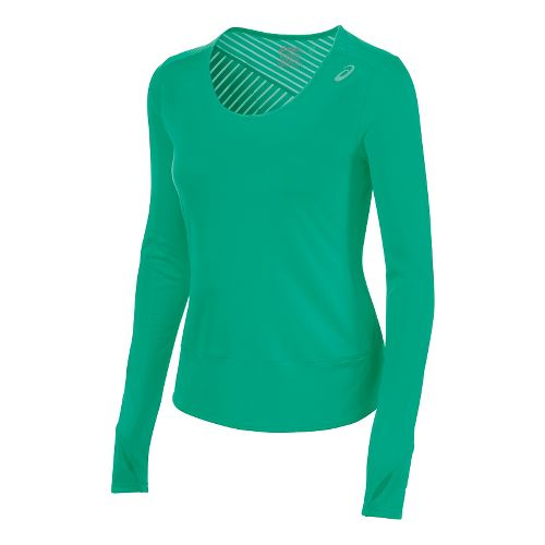 Womens ASICS Cleo Pop Tunic Long Sleeve No Zip Technical Tops - Cool Mint L ...