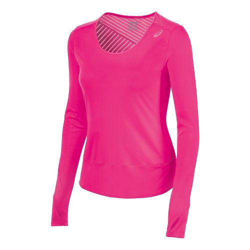 Womens ASICS Cleo Pop Tunic Long Sleeve No Zip Technical Tops - Ultra Pink S ...