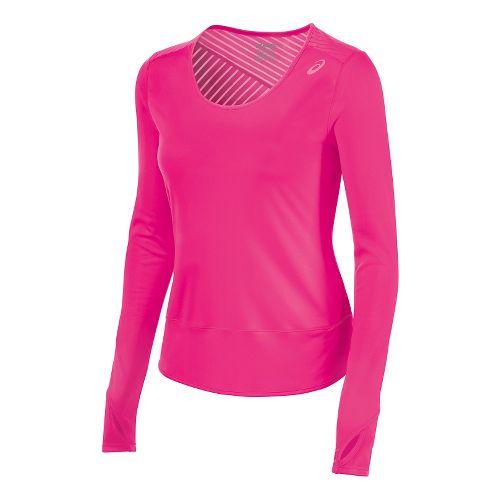 Womens ASICS Cleo Pop Tunic Long Sleeve No Zip Technical Tops - Ultra Pink S ...