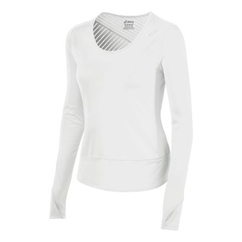 Womens ASICS Cleo Pop Tunic Long Sleeve No Zip Technical Tops - Real White L ...