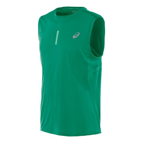 Mens ASICS Performance Run Sleeveless Technical Tops - Jungle Green M