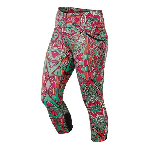 Womens ASICS Cleo Pop Capri Tights - Geotribal Print M