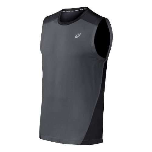 Mens ASICS PR Lyte Sleeveless Technical Tops - Steel/Black L